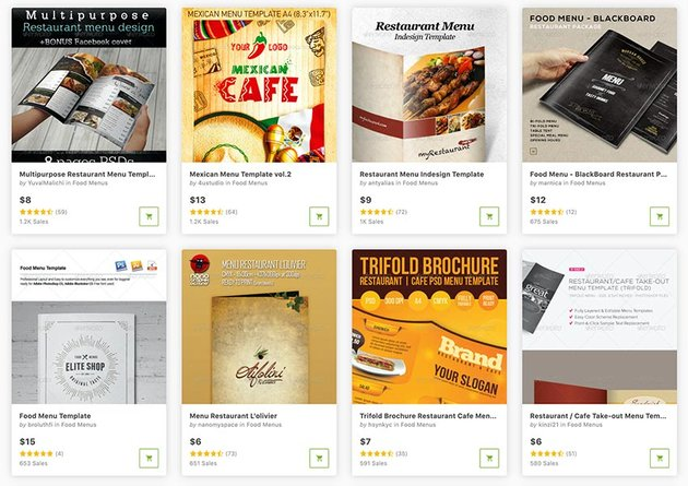 Buy restaurant menu templates one at a time from GraphicRiver.
