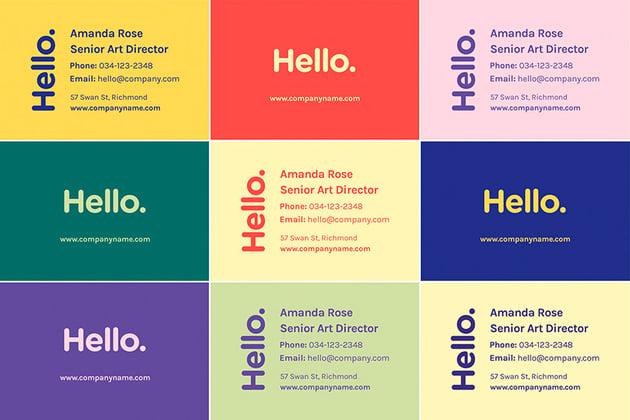 Bright Minimal - Business Card Print Template (AI, EPS, PSD)