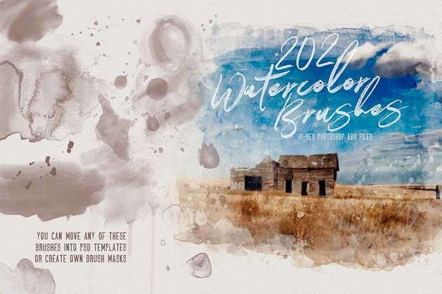 Get this watercolor brush set for your digital projects from Envato Elements.