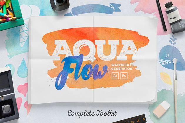 AquaFlow Watercolor Generator (ABR, AI, ASL, EPS, PAT)