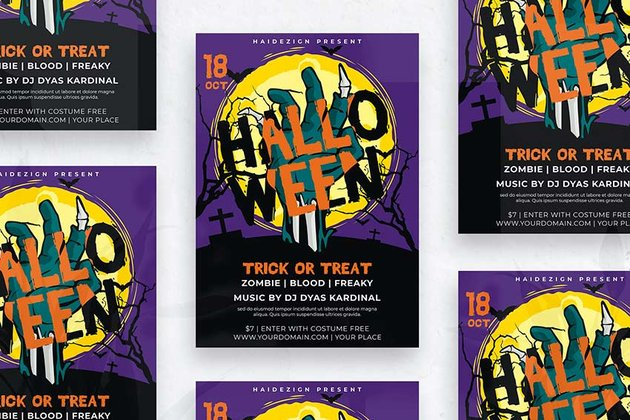 Colorful Halloween Flyer Template (PSD)