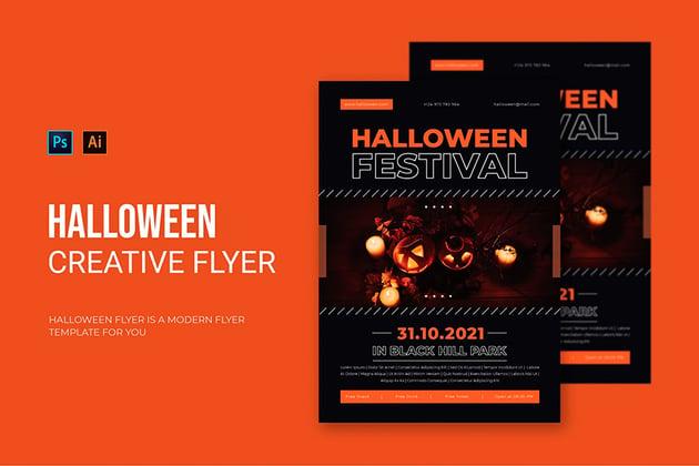 Modern Halloween Flyer Template (AI, EPS, PSD)