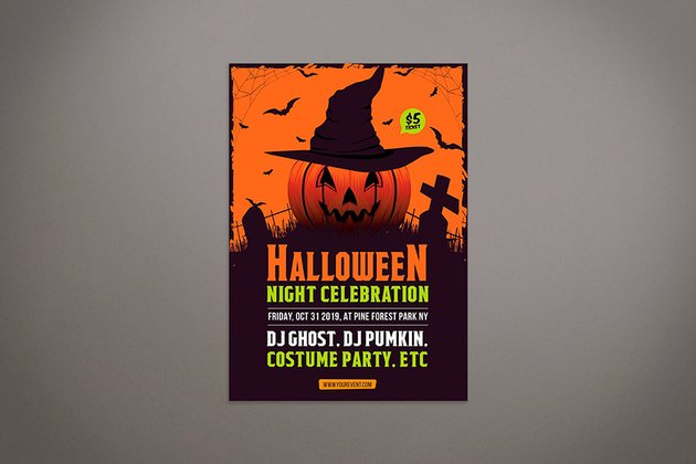 Simple Halloween Party Flyer Template (AI, PSD)