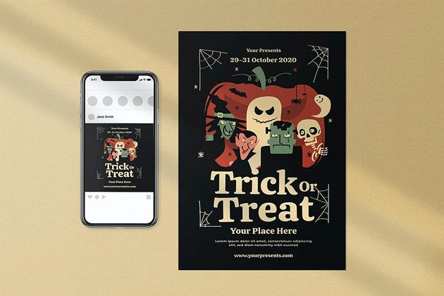 Trick Or Treat Halloween Party Invitation Template (PSD, AI)