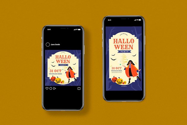 Virtual Halloween Party Invitations (AI, PSD)