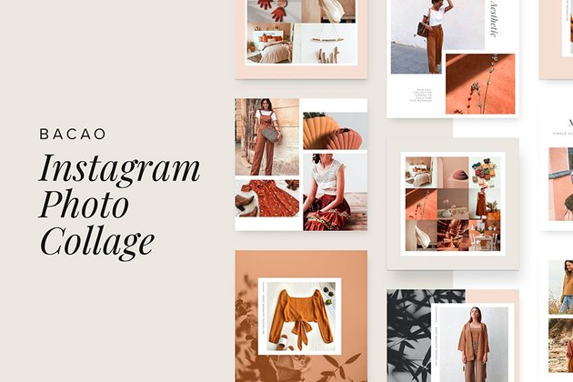 Bacao - Photo Collage Template For Instagram (PSD, SKETCH)