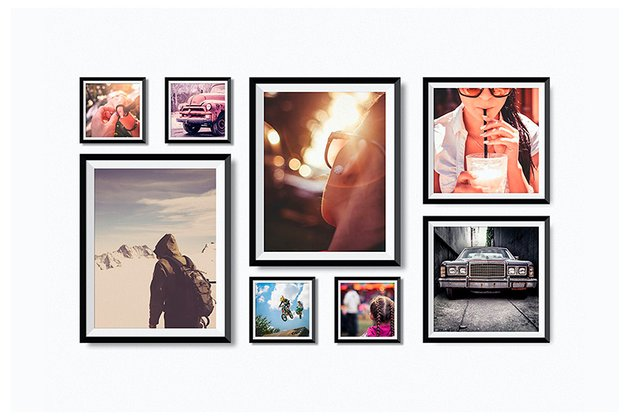 Realistic Photo Frames on Wall Mock-Up (PSD)