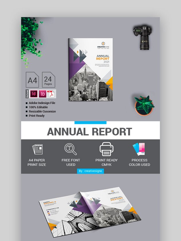 Annual Report Template with Geometric Forms