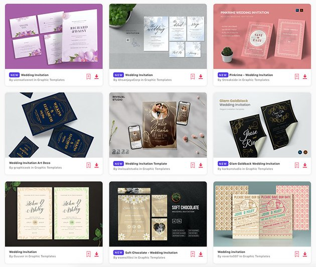 Enjoy unlimited downloads of editable wedding invitation templates from Envato Elements.