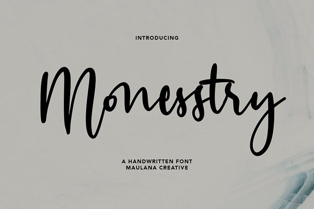 Monesstry Handwritten Script (OTF, TTF)