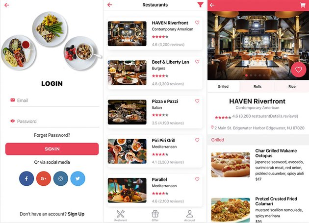 This is a new and modern Ionic restaurant app template from CodeCanyon.