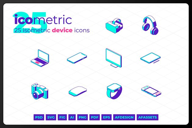 Isometric Device Icons (AI, EPS, FIG, PDF, PNG, PSD, SVG, AFDESIGN)