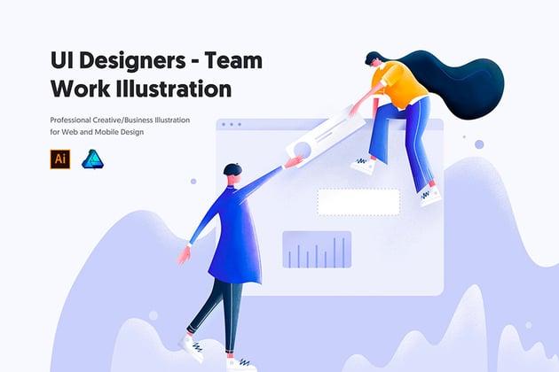 UI Designers - Team Work Illustration (AI, AFDESIGN, JPG, PDF, PNG, PSD)