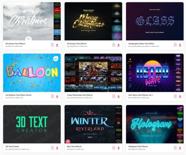 Enjoy unlimited downloads of Photoshop text effects from Envato Elements