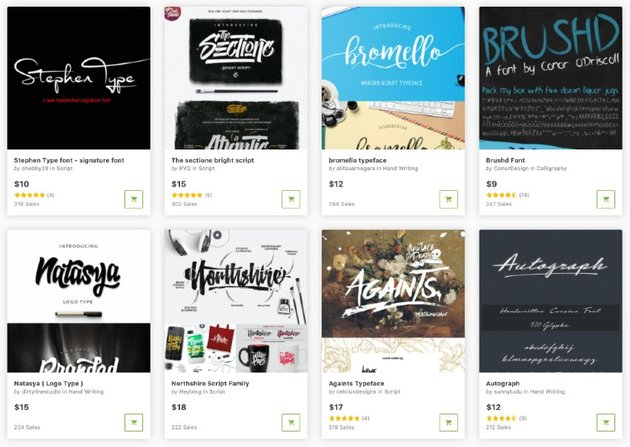 Buy the best script fonts one at a time from GraphicRiver