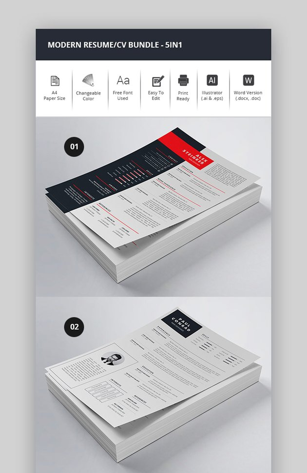 One Page Resume 5-In-1 Bundle