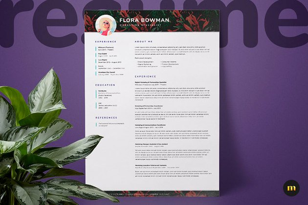 You can find this cool one page resume template on Envato Elements.
