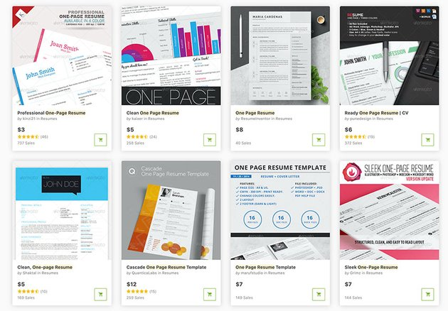 If you need a single one page resume template, GraphicRiver is the place to go.