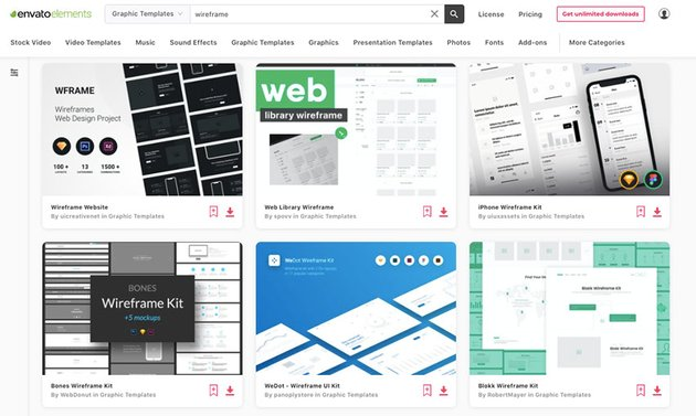 Get unlimited downloads of professional wireframe templates