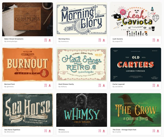 Enjoy unlimited downloads of decorative fonts from Envato Elements