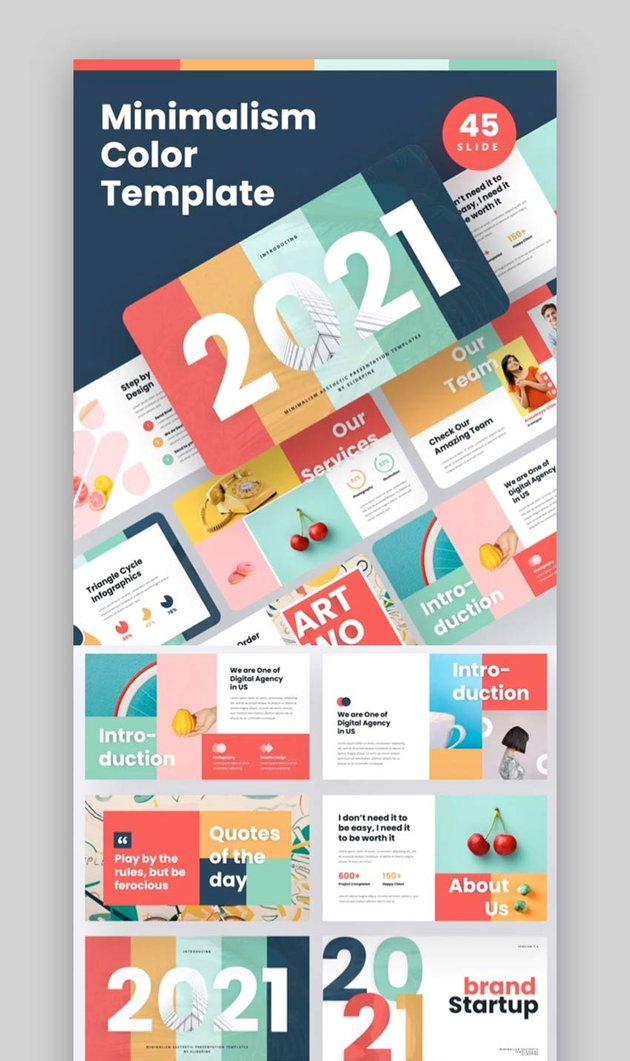 Minimalism Colorful Powerpoint Template