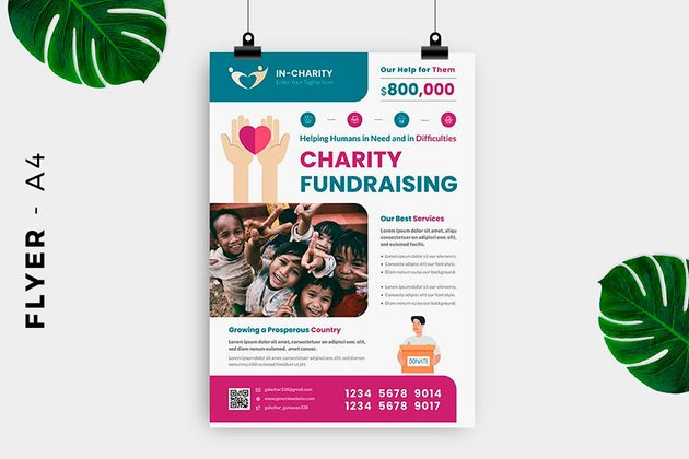Use this professional fundraiser flyer template from Envato Elements for your next event.