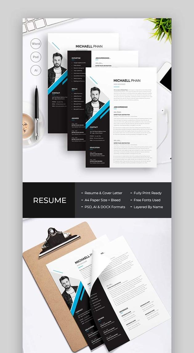 Black and White Contemporary CV