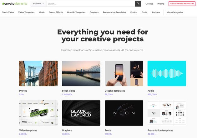 Envato Elements: one flat rate, thousands of presentation templates.