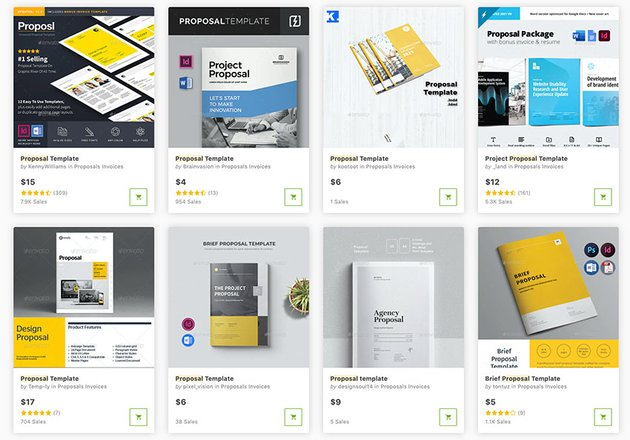 You can find hundreds of great-looking proposal templates to buy individually on GraphicRiver.