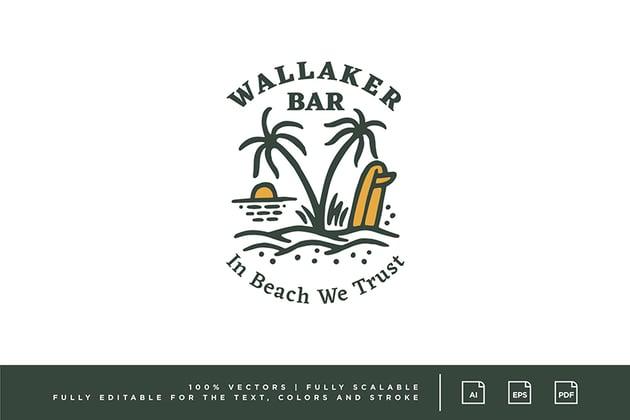 Vintage Beach Bar Logo Design