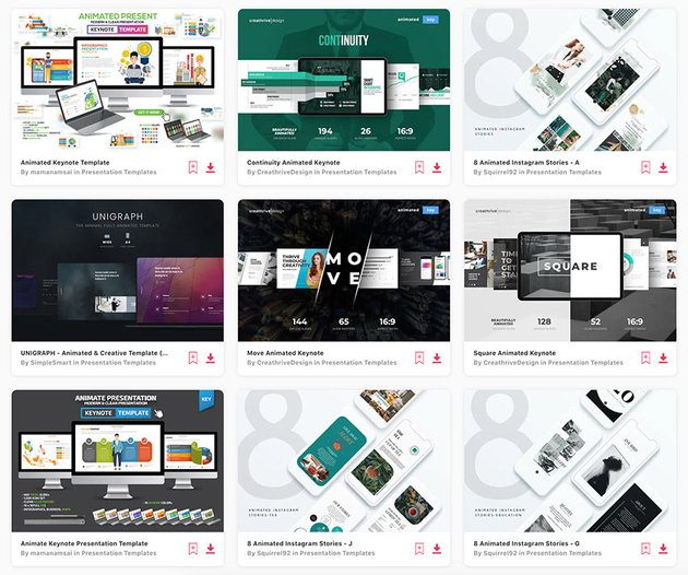 You'll find hundreds of Keynote animation templates on Envato Elements.