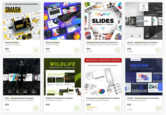 GraphicRiver has tons of high-quality Keynote animation templates.