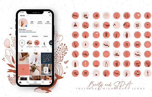 Beauty and Spa Instagram Highlight Templates (JPG)