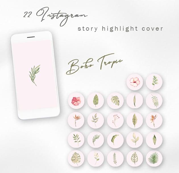 Boho Tropic Instagram Story Highlight Template  (JPG)