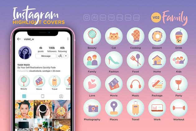 Family Instagram Highlight Icons (AI, EPS, PDF, JPG, PNG, SVG)