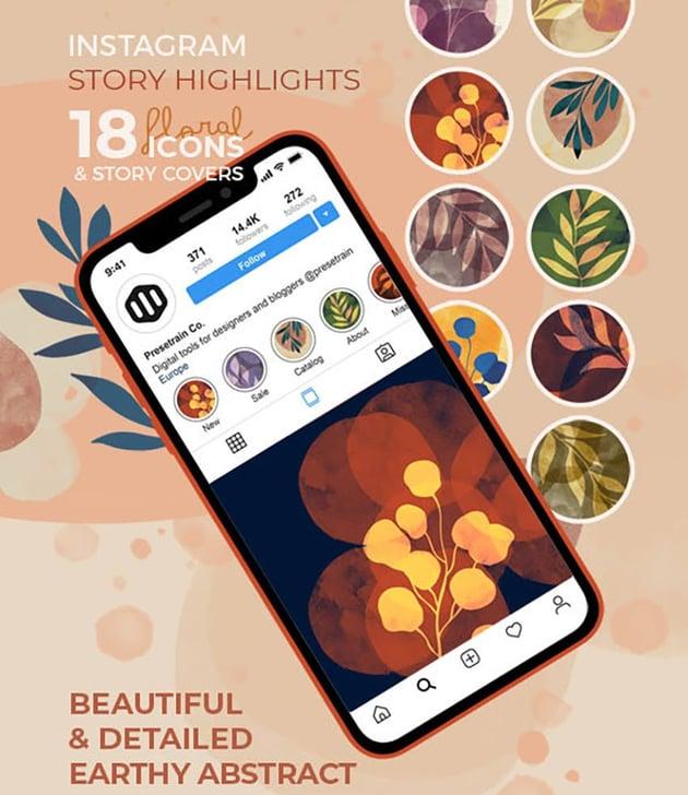 Floral Instagram Highlight Templates (PSD, PNG, JPG)