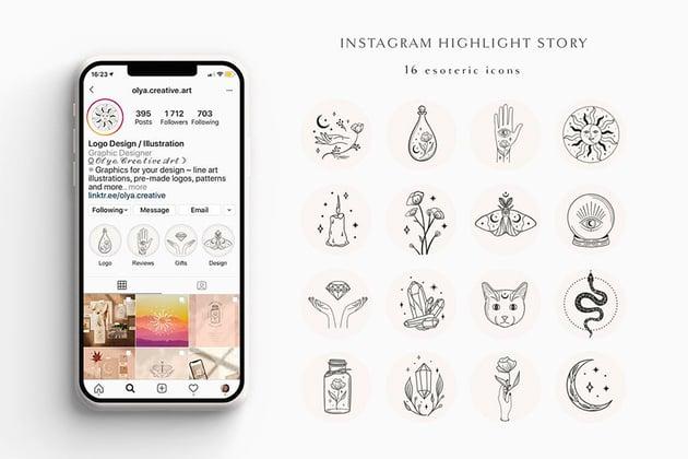 Hand Drawn Instagram Highlight Templates (AI, JPG, PNG, SVG)