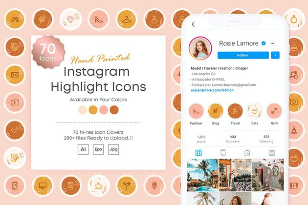 Hand Painted Instagram Highlights Cover Templates  (AI, EPS, JPG)