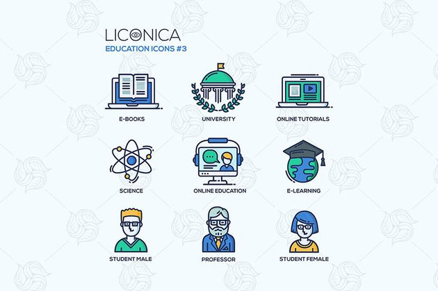 Modern school and education thin line design icons
