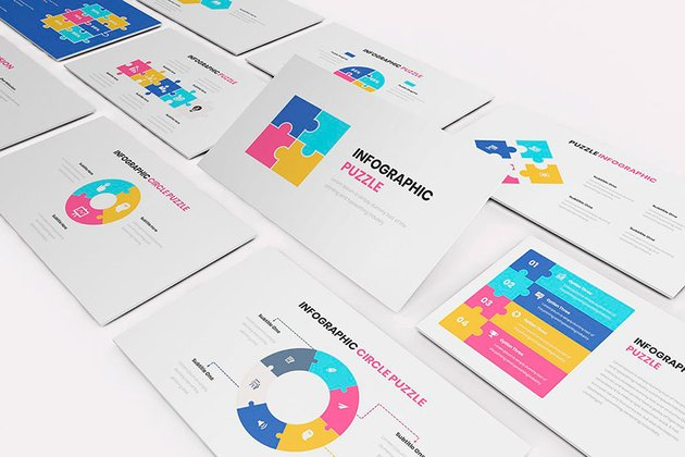This jigsaw PowerPoint template has a clean and simple design.