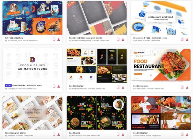 Envato Elements gives you unlimited food menu slideshow After Effects templates.