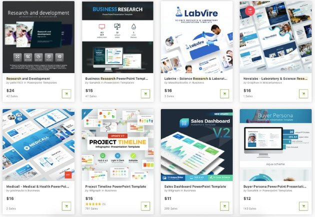 Hundreds of research PowerPoint templates can be found on GraphicRiver