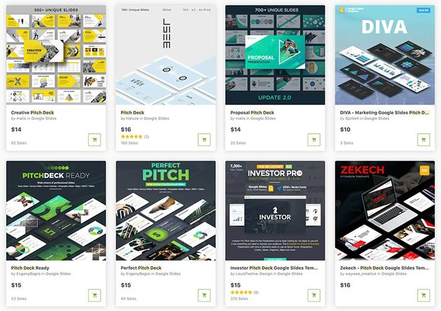 Premium Google Slides pitch deck templates on GraphicRiver (buy one at a time).