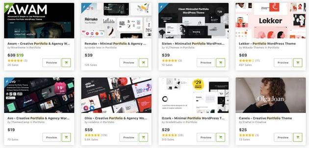 Build the best graphic designer portfolio websites with Themeforest
