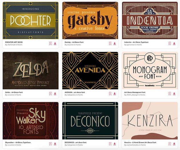 Envato Elements offers you unlimited Art Deco font downloads with a subscription.