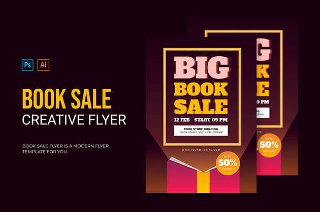 Book Sale Flyer Template (AI, EPS, PSD)