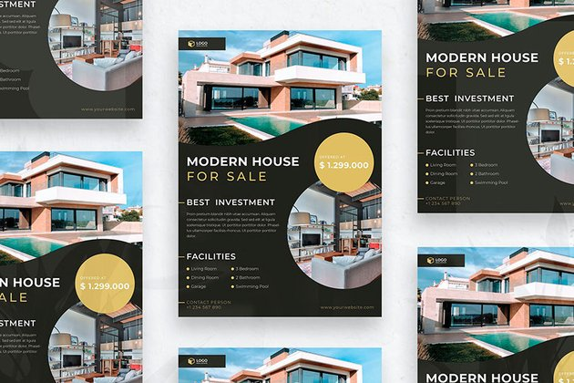 Modern House For Sale Flyer Template (AI, EPS, PSD)