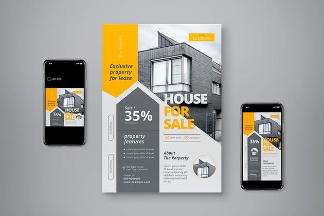 Modern Real Estate Flyer Set (PSD, AI)