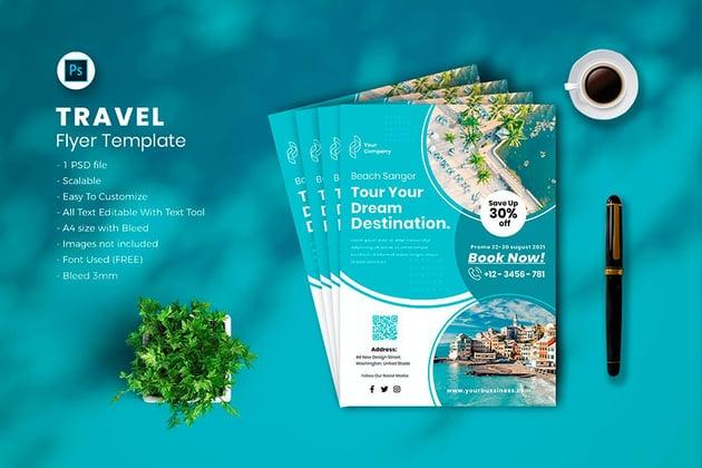 Travel Flyer Inspiration Template (PSD, AI)