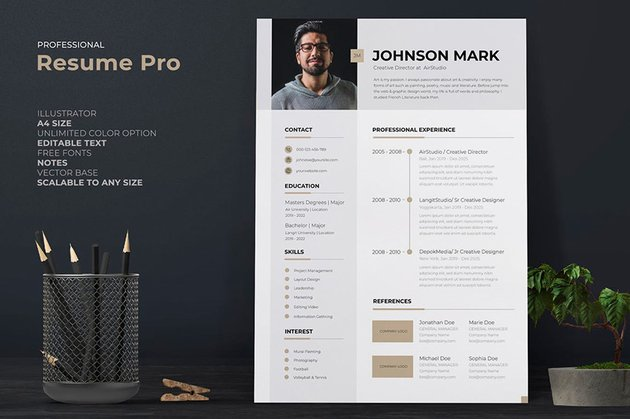 Nice resume template with header